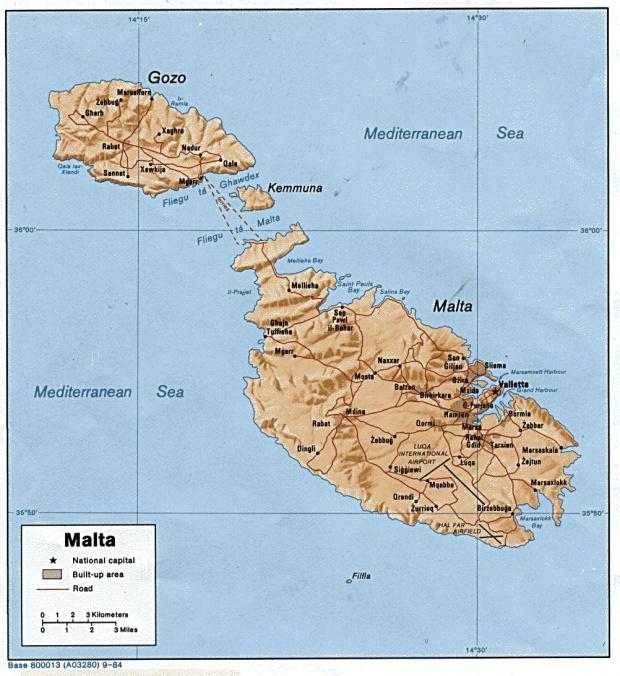 Mapa Físico de Malta