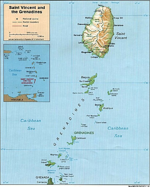 Mapa Físico de San Vicente y las Granadinas
