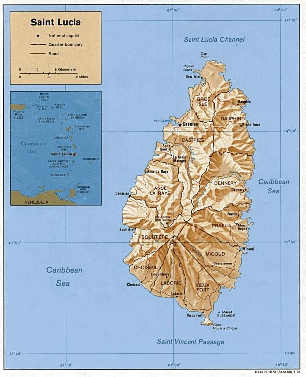 Mapa Físico de Santa Lucía