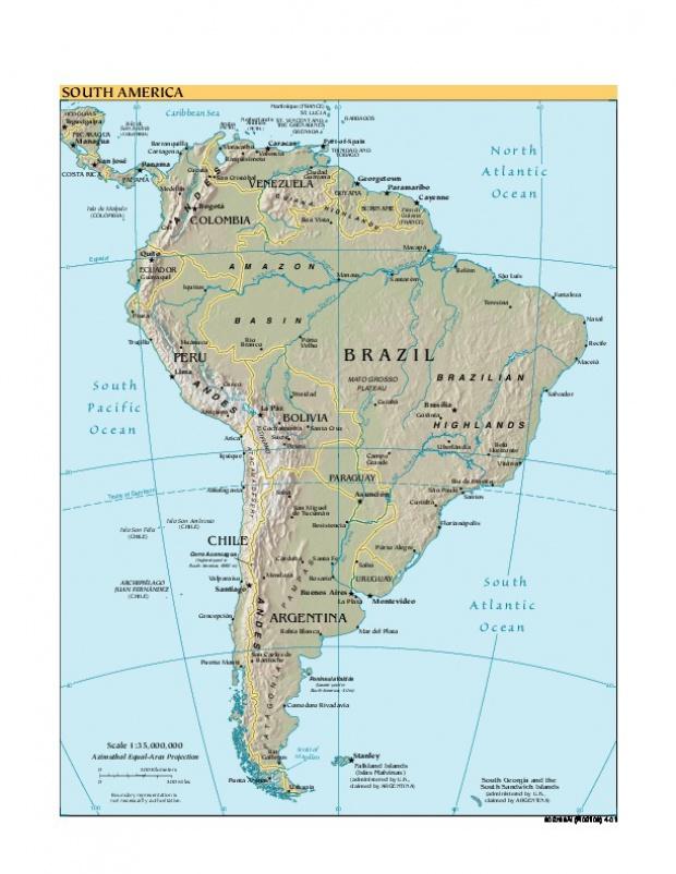 Mapa Físico de Suramérica 2001
