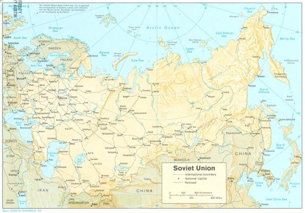 Mapa Físico de la ex Unión Soviética
