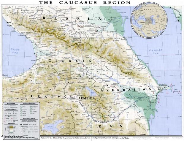 Mapa Físico del Cáucaso 1994