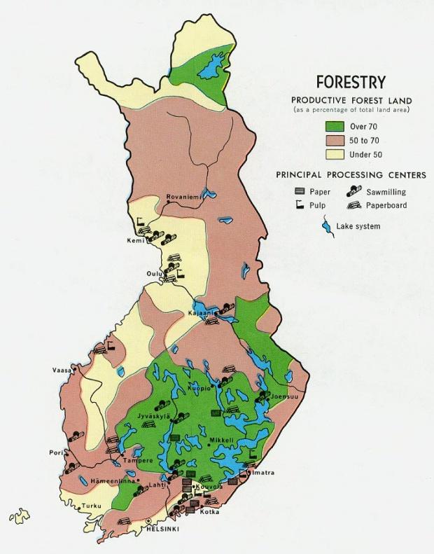 Mapa Forestal de Finlandia