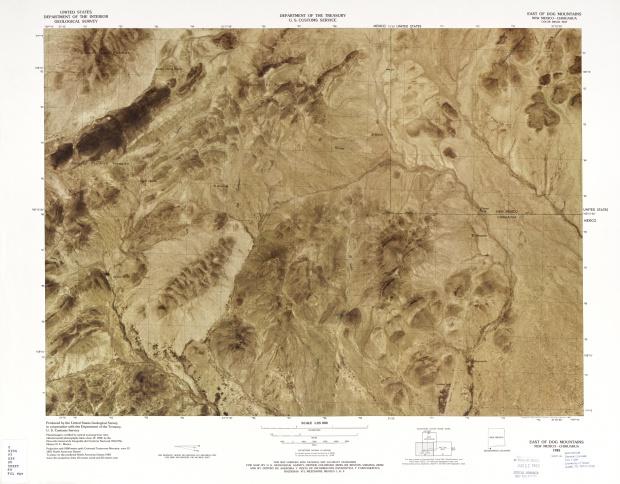 Mapa Fronterizo de México-Estados Unidos, Este de Montañas Dog 1982