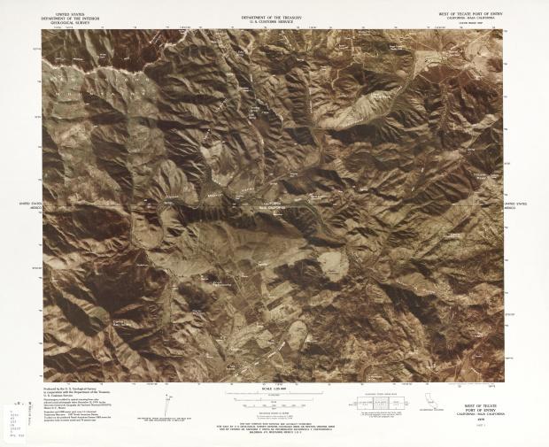 Mapa Fronterizo de México-Estados Unidos, Oeste del Puerto de Entrada de Tecate 1979
