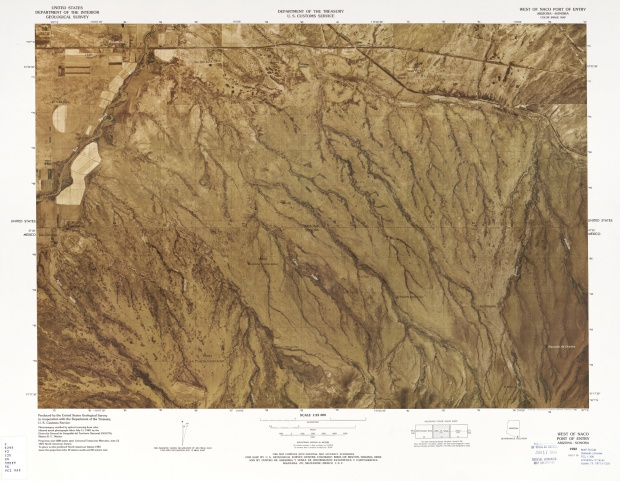 Mapa Fronterizo de México-Estados Unidos, Oeste del Puerto de Entradade Naco 1982