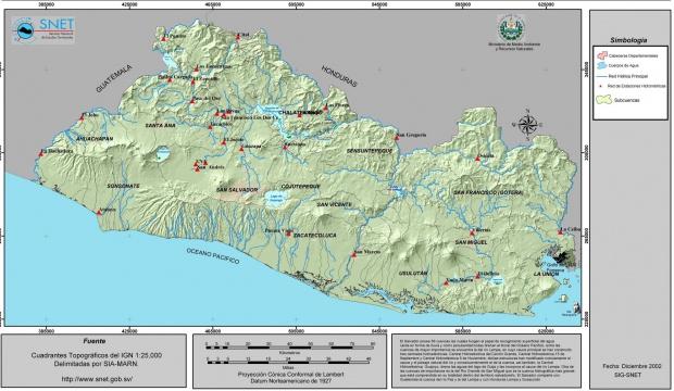 Mapa Hidrológico de El Salvador