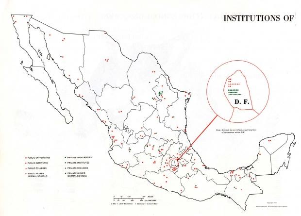 Mapa Instituciones de Enseñanza Superior, México 1972
