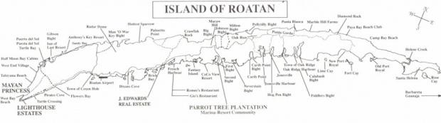 Mapa Isla Roatan, Islas de la Bahia, Honduras