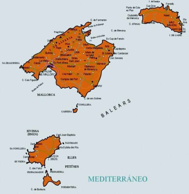 Mapas Politico De Islas Baleares