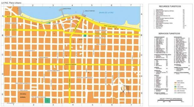 Mapa La Paz (Plano Urbano), Baja California Sur, Mexico