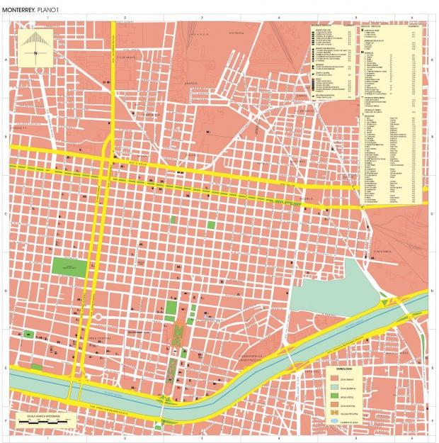 Mapa Monterrey, Nuevo León, Mexico
