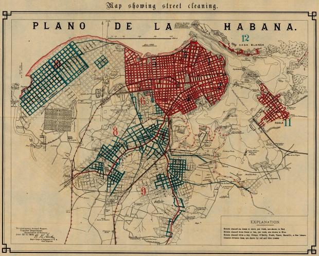 Mapa Mostrando Limpieza de Calles de la Ciudad de La Havana, Cuba 1899
