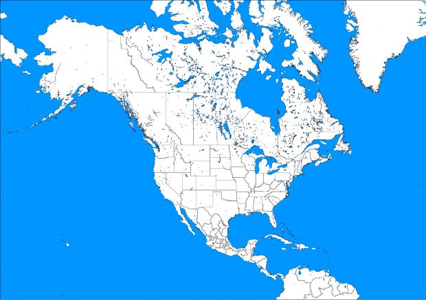 Mapa Mudo Político de América del Norte