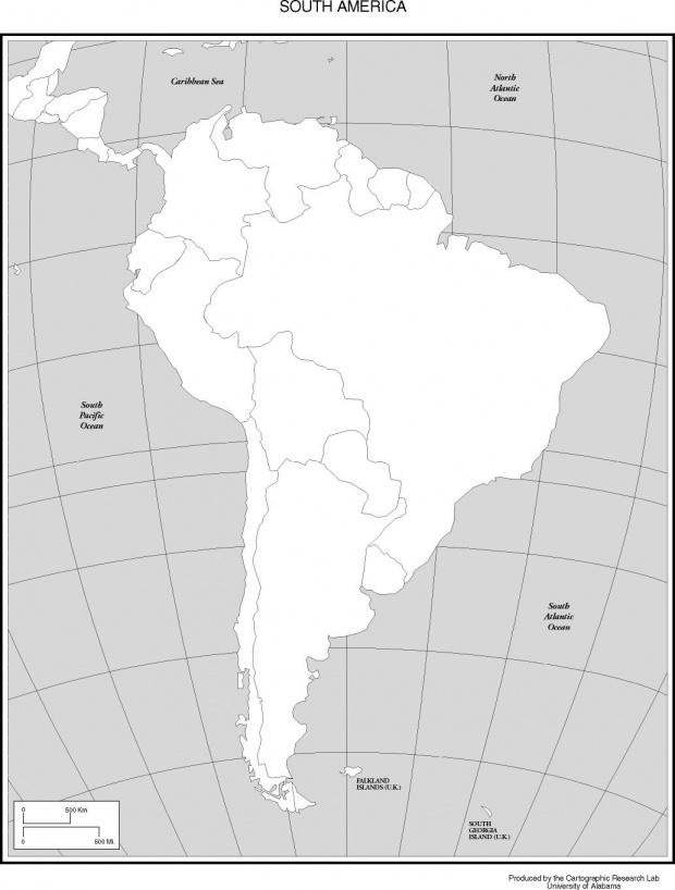 Mapa Mudo Político de América del Sur