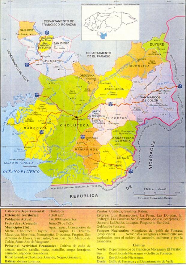 Mapa Politico, Departamento de Choluteca, Honduras