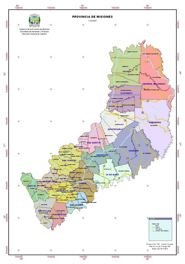 Mapa Politico, Provincia Misiones, Argentina
