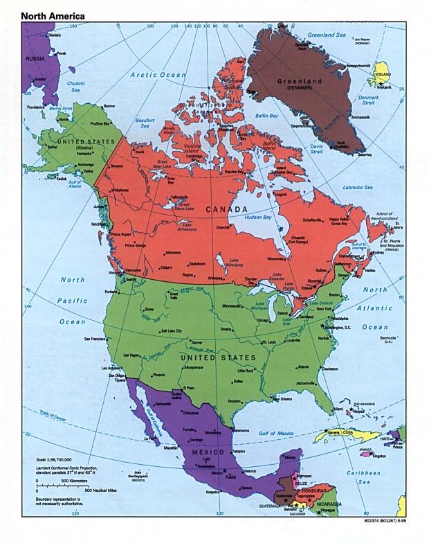 Mapa Político de América del Norte 1995