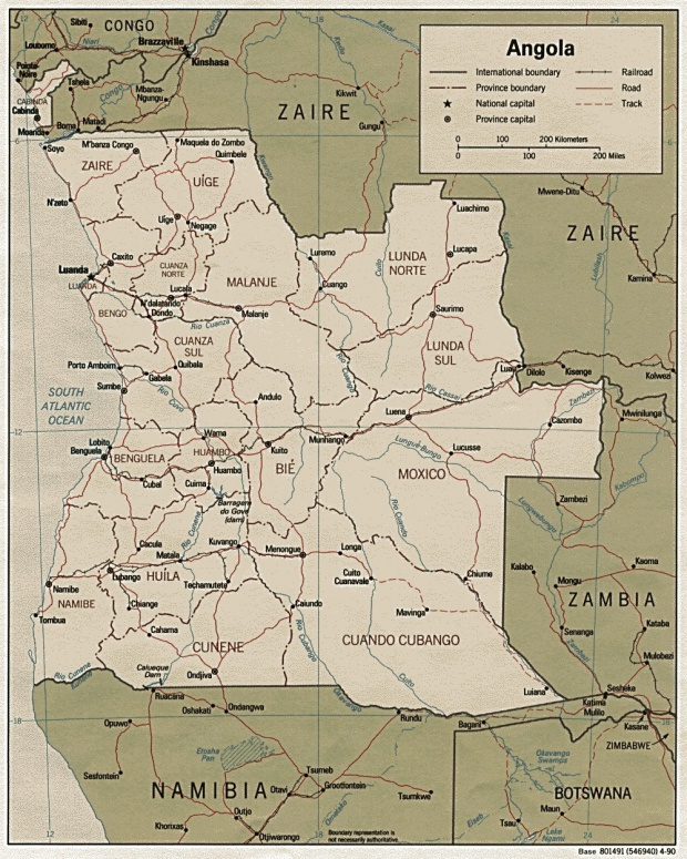 Mapa Politico de Angola