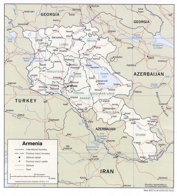 Mapa Politico de Armenia