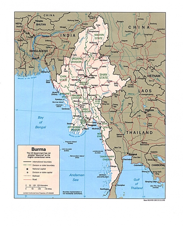 Mapa Politico de Birmania (Myanmar)