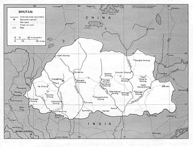 Mapa Politico de Bután