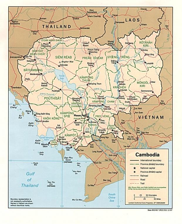Mapa Politico de Camboya