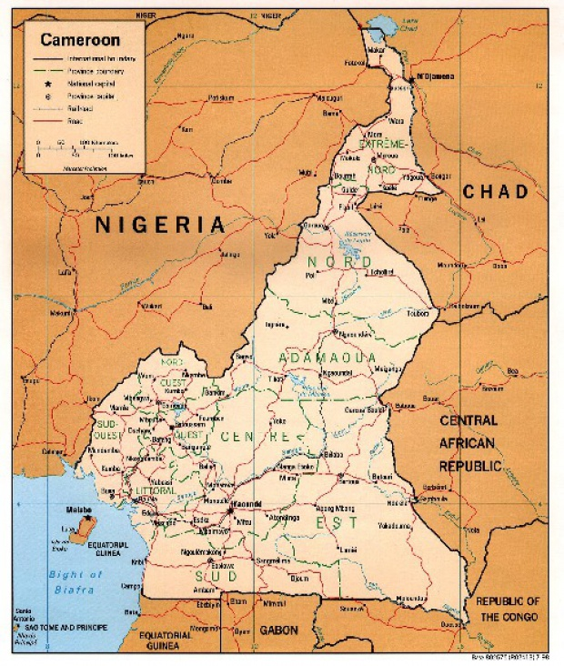 Mapa Politico de Camerún