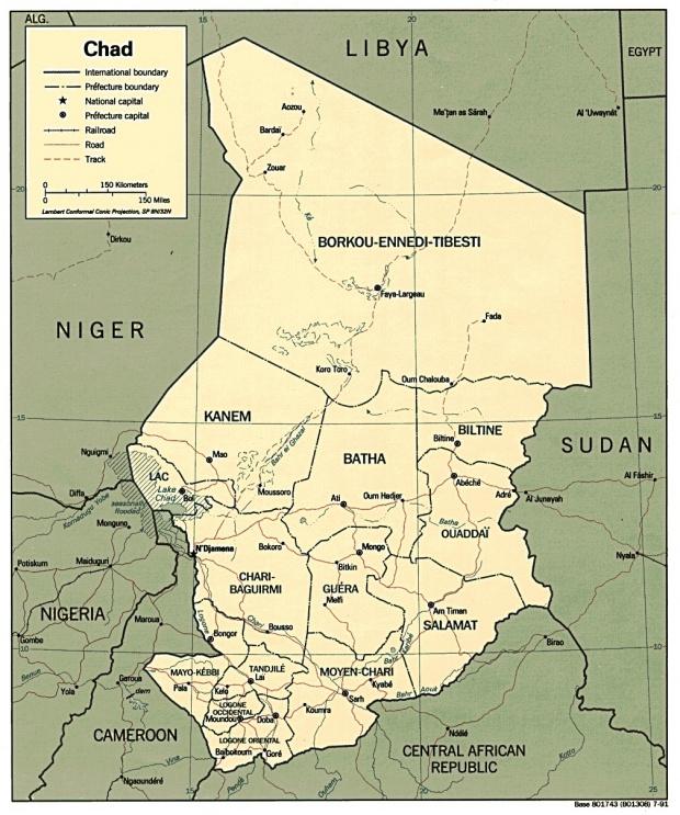 Mapa Politico de Chad
