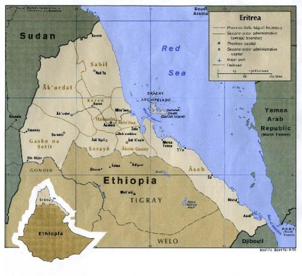 Mapa Politico de Eritrea