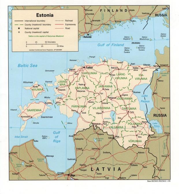 Mapa Politico de Estonia
