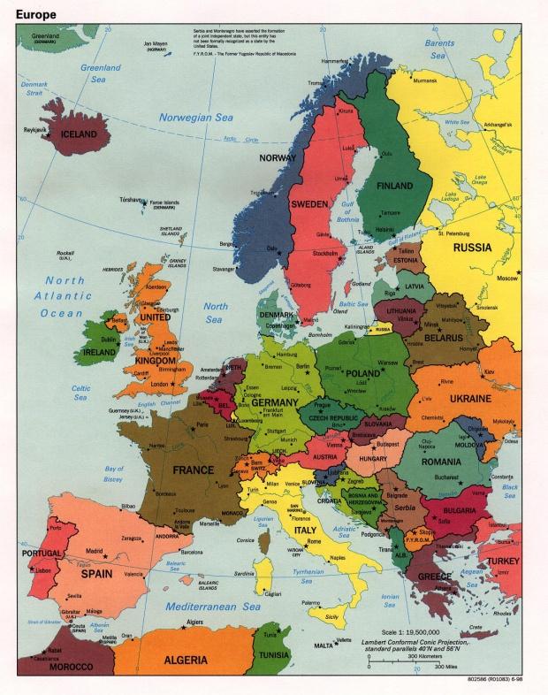 Mapa Politico de Europa 1998