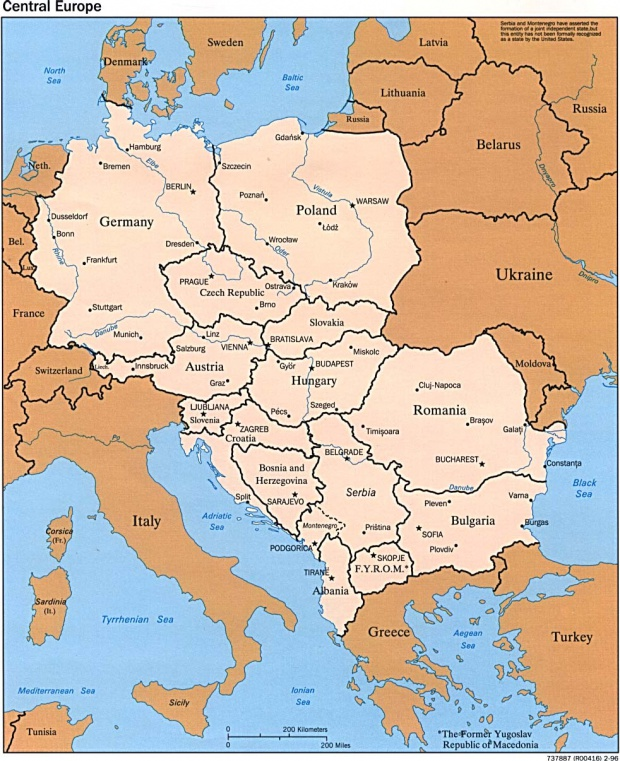Mapa Politico de Europa Central 1996