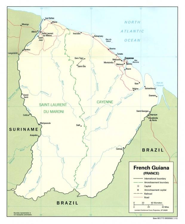 Mapa Político de Guayana Francesa