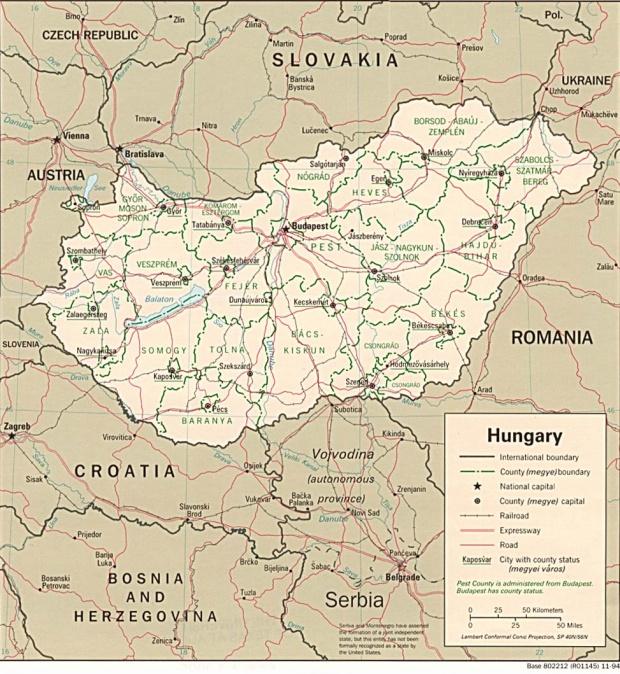 Mapa Politico de Hungría