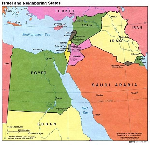 Mapa Politico de Israel y de los Estados Vecinos