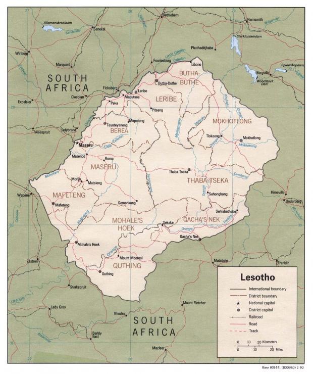Mapa Politico de Lesoto