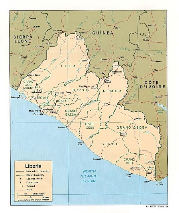 Mapa Politico de Liberia