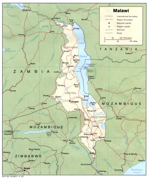 Mapa Politico de Malawi