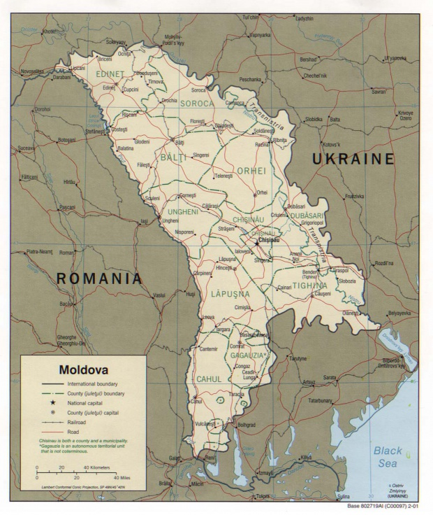 Mapa Politico de Moldavia