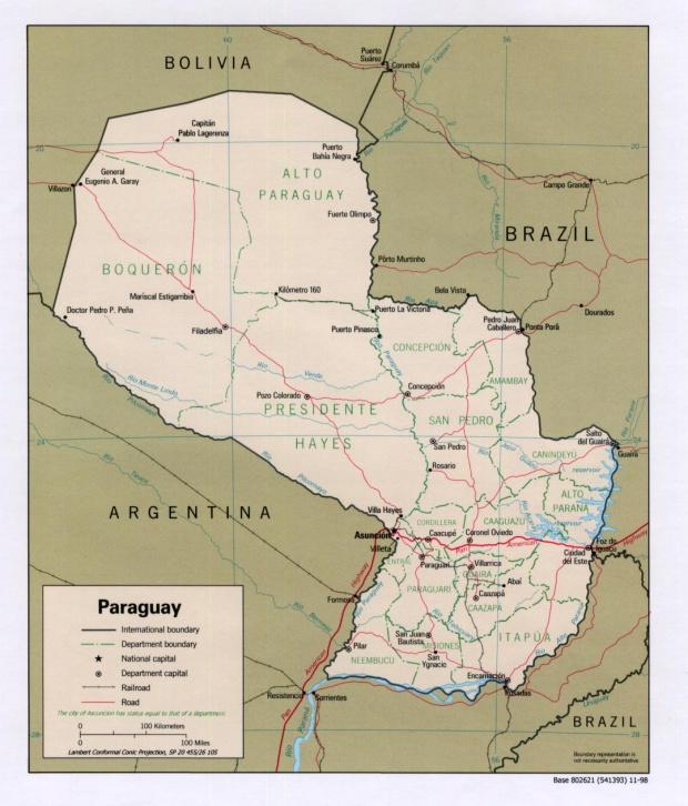 Mapa Político de Paraguay