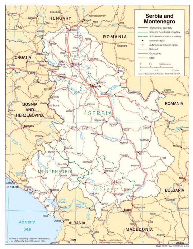 Mapa Politico de Serbia y Montenegro