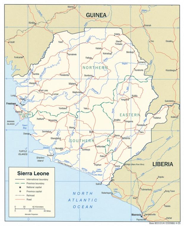 Mapa Politico de Sierra Leona