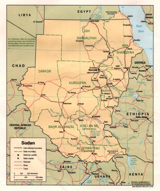 Mapa Politico de Sudán