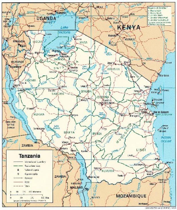 Mapa Politico de Tanzania