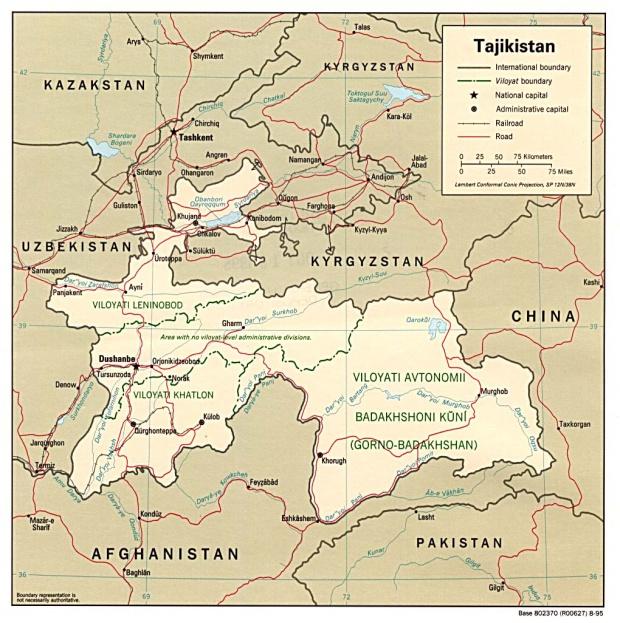 Mapa Politico de Tayikistán
