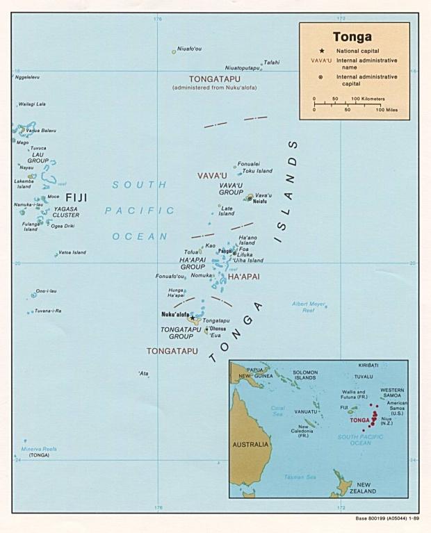 Mapa Politico de Tonga
