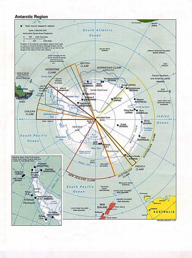 Mapa Politico de la Antártida 1997