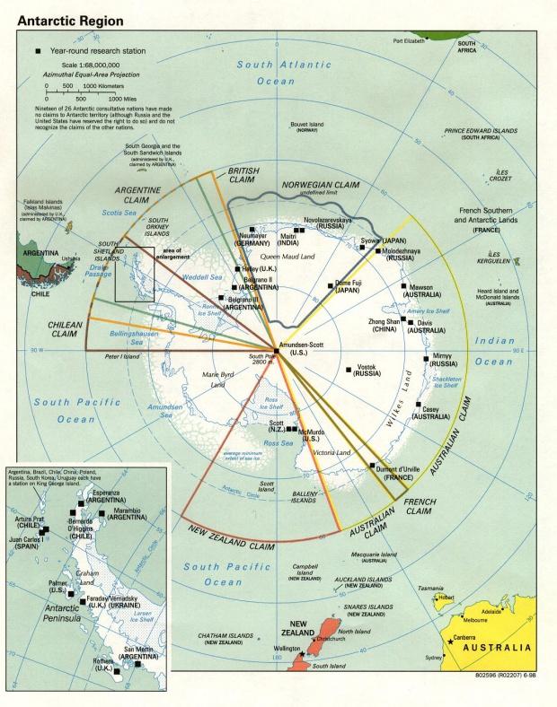 Mapa Politico de la Antártida 1998