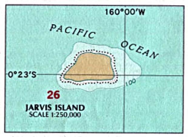 Mapa Politico de la Isla Jarvis, Estados Unidos